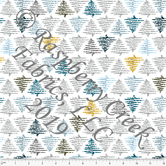 Grey Teal Blue and Mustard Winter Trees by Elise Peterson for Club Fabrics - Raspberry Creek Fabrics