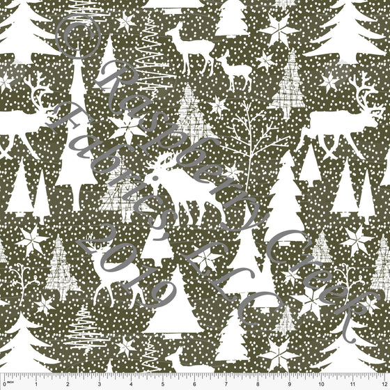Olive Green and White Winter Wonderland 4 Way Stretch Double Brushed Poly, By Elise Peterson for CLUB Fabrics - Raspberry Creek Fabrics