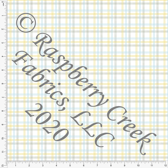 Light Blue Yellow and Sage Easter Plaid, Club Fabrics - Raspberry Creek Fabrics