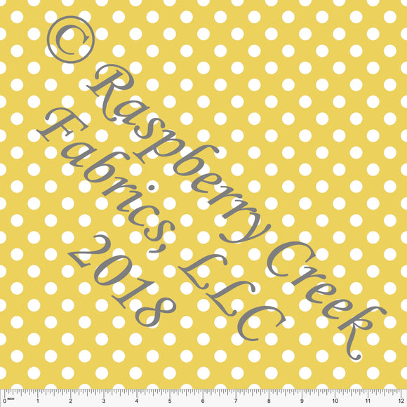 Yellow and White Polka Dot 4 Way Stretch MATTE SWIM Knit Fabric, Club Fabrics