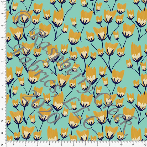 Seafoam Navy Mustard and Cream Floral Print Double Brushed Poly Knit Fabric, By Courtney Graziano for CLUB Fabrics Raspberry Creek Fabrics