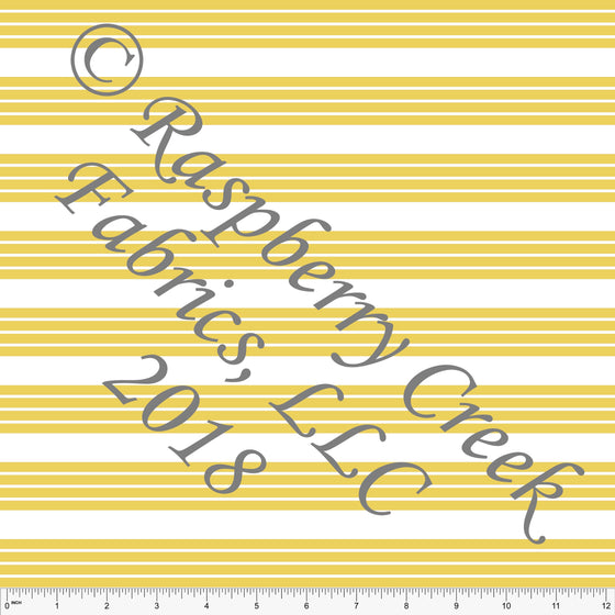 Yellow and White Stripe 4 Way Stretch MATTE SWIM Knit Fabric, Club Fabrics