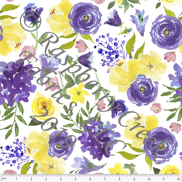 Violet Purple Yellow and Pink Watercolor Floral 4 Way Stretch Jersey Knit Fabric, Florals for Club Fabrics