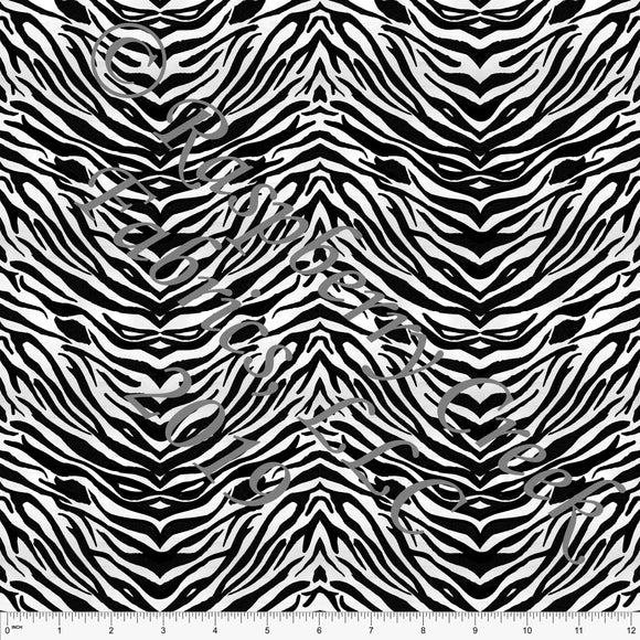 Black Charcoal and White Zebra Print 4 Way Stretch Jersey Knit Fabric, African Animals by Elise Peterson for Club Fabrics