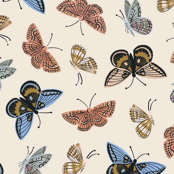 Cream Coral Blue and Gold Metallic Butterfly Cotton Lawn, English Garden By Rifle Paper Co for Cotton and Steel, Monarch in Cream, 1 Yard