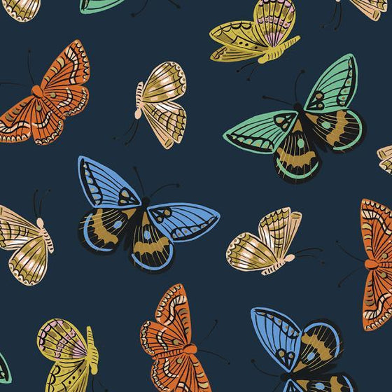 Navy Blue Coral Blue and Gold Metallic Butterfly Cotton Lawn, English Garden By Rifle Paper Co for Cotton and Steel, Monarch in Navy, 1 Yard