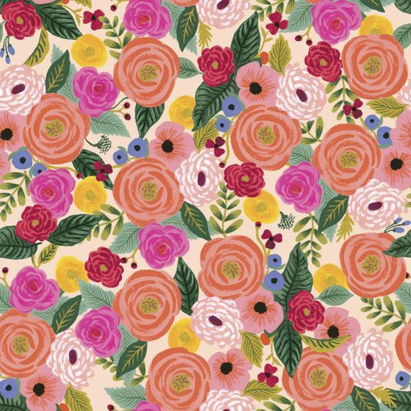 Fuchsia Coral Yellow Cream and Green Floral Rayon Challis, English Garden By Rifle Paper Co for Cotton and Steel, Juliet Rose in Cream, 1 Yard