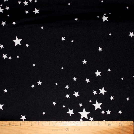 Black and White Star Double Brushed Poly Spandex Knit, 1 yard