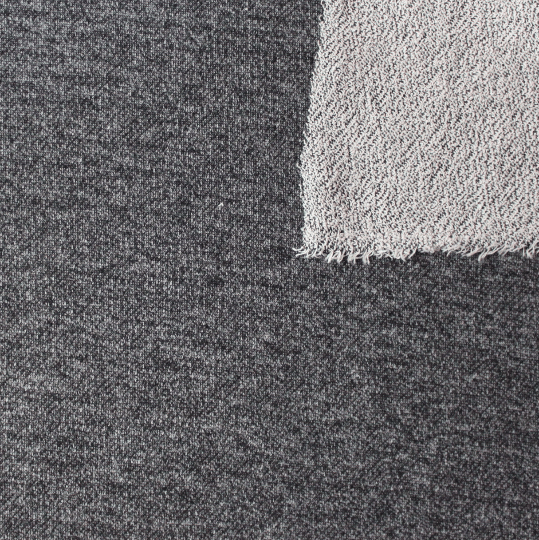 Black Heathered French Terry Knit Sweatshirt Fabric, 1 Yard - Raspberry Creek Fabrics