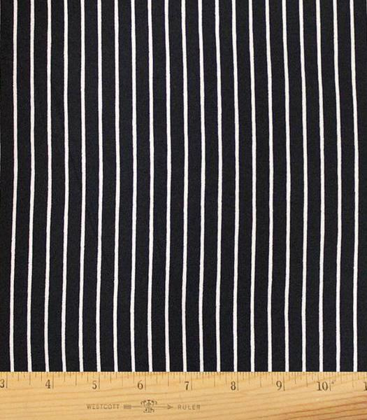 Black White Vertical Stripe Double Brushed Poly Spandex Knit, 1 yard