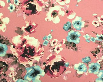 Blush Pink Burgundy and Aqua Floral Brushed Poly Spandex Knit, 1 yard