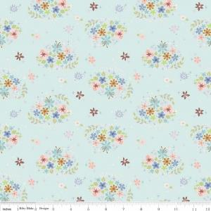 Aqua Pink Periwinkle and Green Star Floral Fabric, Neverland By Jill Howarth Riley Blake Designs, Star Flower in Mint, 1 Yard