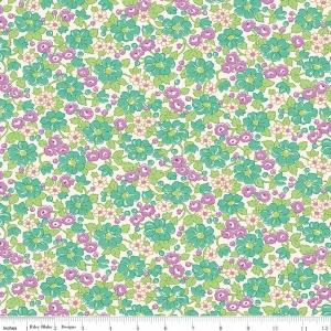 Purple Teal and Green Floral Fabric, Prim & Proper By Lindsay Wilkes of The Cottage Mama for Riley Blake Designs, Main Floral in Teal, 1 Yard