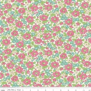 Dark Mauve Teal and Green Floral Fabric, Prim & Proper By Lindsay Wilkes of The Cottage Mama for Riley Blake Designs, Main Floral in Pink, 1 Yard