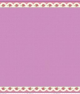Purple and White Polka Scallop Floral Border Print Fabric, Prim & Proper By Lindsay Wilkes of The Cottage Mama for Riley Blake Designs, Prim Border Stripe Purple, 1 Yard