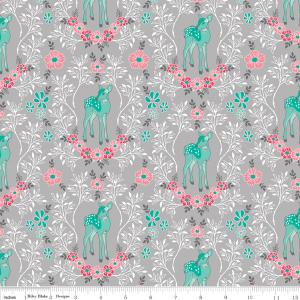 Grey Pink Teal and White Floral Vine and Deer Fabric, Flora & Fawn by Amanda Herring Riley Blake Designs, Floral Deer in Grey, 1 Yard