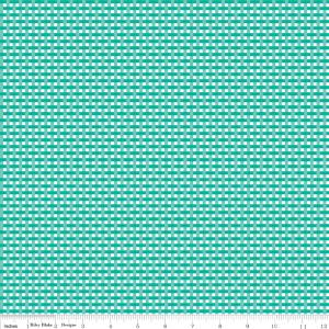 Teal and White Tiny Gingham Weave Fabric, Flora & Fawn by Amanda Herring Riley Blake Designs, Weave in Teal 1 Yard