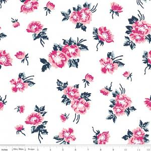 White Navy Blue and Pink Floral Fabric, Derby Day by Melissa Mortenson For Riley Blake Designs, Derby Floral in White, 1 Yard