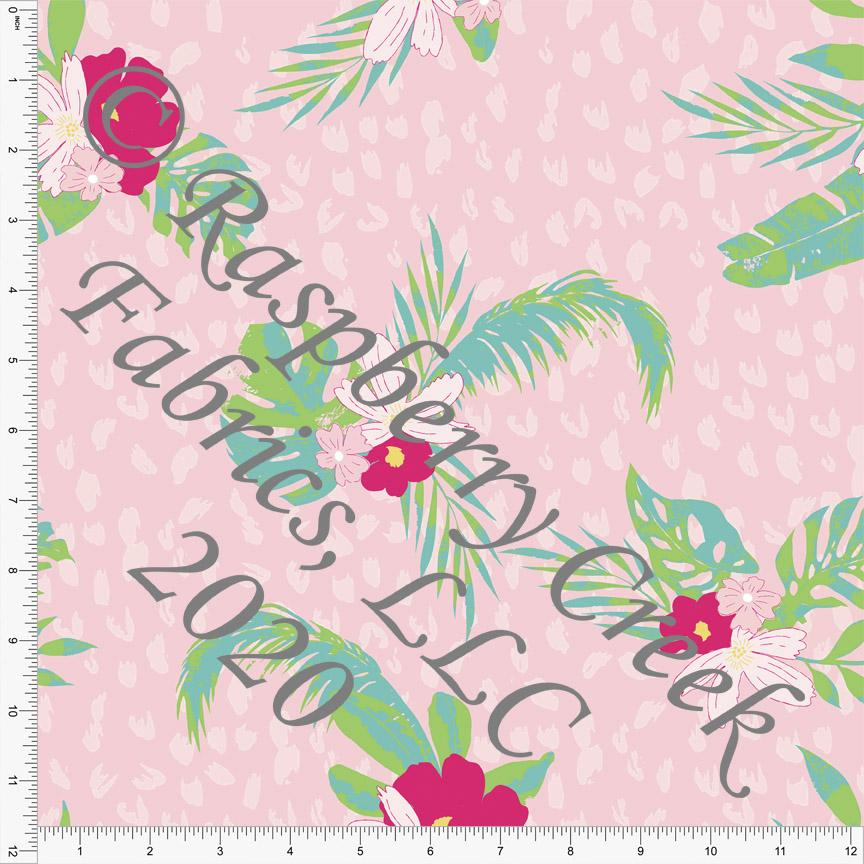 Light Pink Fuchsia Green and Light Teal Tropical Floral Print, California Dreamin By Kimberly Henrie For Club Fabrics - Raspberry Creek Fabrics Knit Fabric