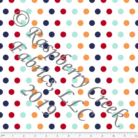 Navy Red Aqua and Light Blue Circus Multi Polka Dot 4 Way Stretch MATTE SWIM Knit Fabric, By Kim Henrie for Club Fabrics - Raspberry Creek Fabrics