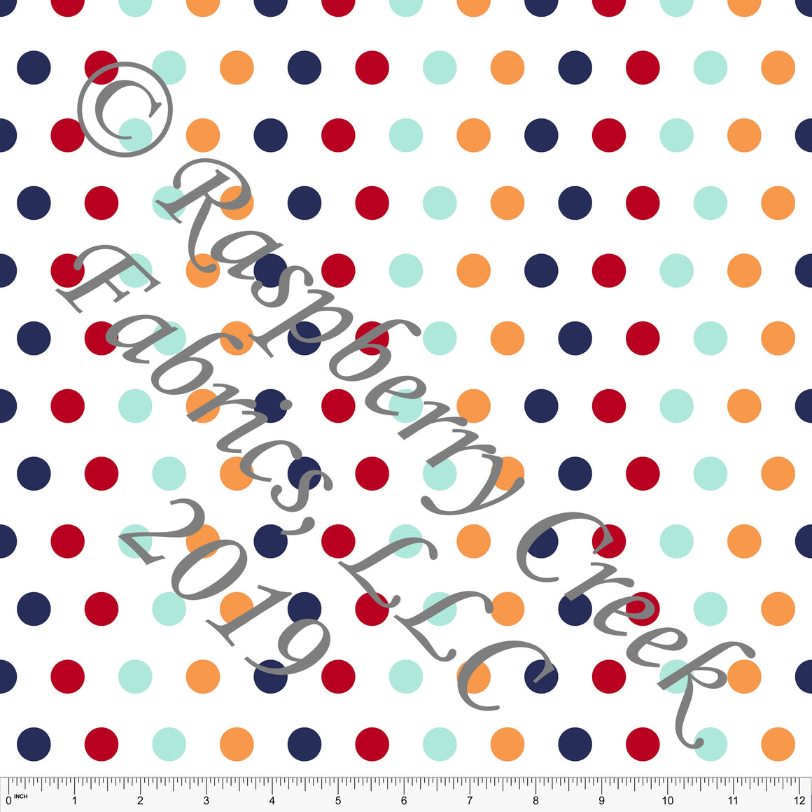 Navy Red Aqua and Light Blue Circus Multi Polka Dot 4 Way Stretch MATTE SWIM Knit Fabric, By Kim Henrie for Club Fabrics