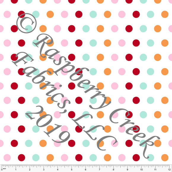 Pink Orange Red and Aqua Circus Multi Polka Dot 4 Way Stretch MATTE SWIM Knit Fabric, By Kim Henrie for Club Fabrics - Raspberry Creek Fabrics