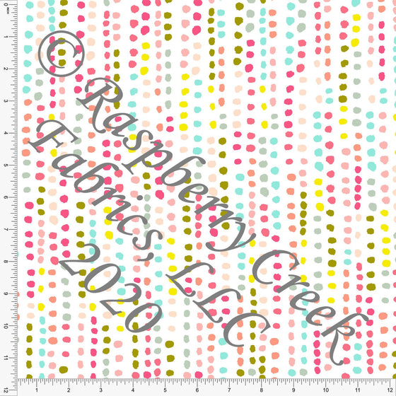 Fuchsia Mint Pink Peach and Pea Green Vertical Dot Stripe, Double Daffodil by Kimberly Henrie for Club Fabrics - Raspberry Creek Fabrics