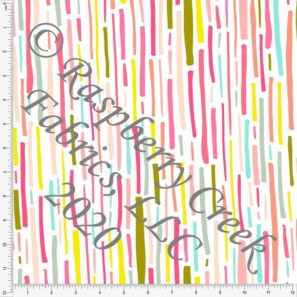 Fuchsia Mint Pink Peach and Pea Green Vertical Shape Stripes, Double Daffodil by Kimberly Henrie for Club Fabrics - Raspberry Creek Fabrics