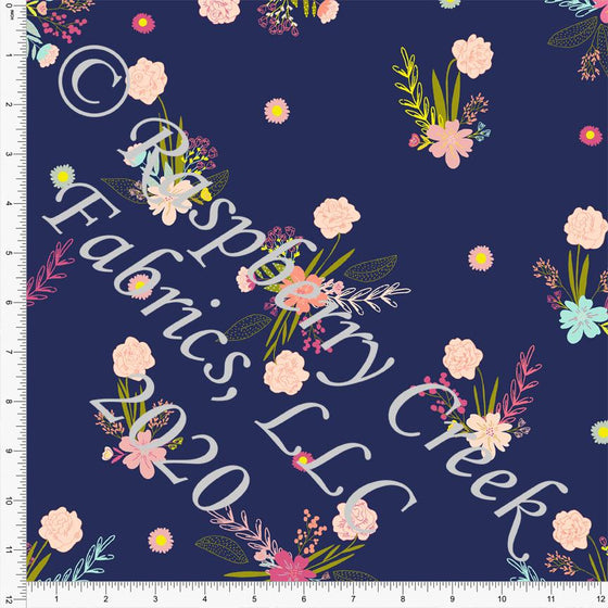 Navy Mint Pink Peach and Pea Green Double Daffodil Floral Print Double Brushed Poly Knit Fabric, Double Daffodils by Kimberly Henrie for CLUB Fabrics - Raspberry Creek Fabrics