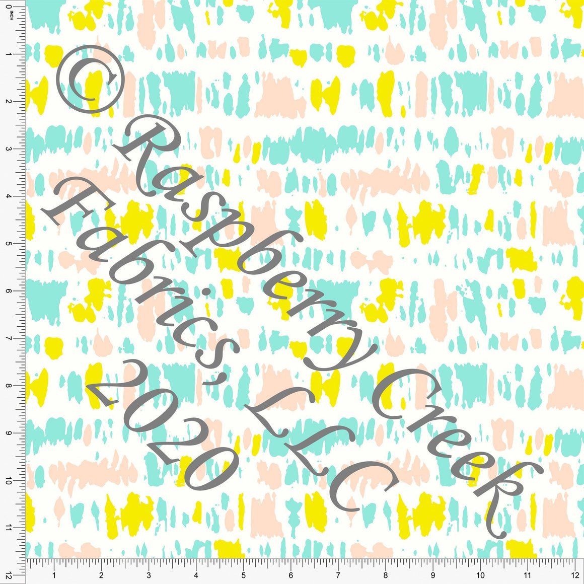 Mint Pink Peach and Bright Yellow Abstract Geometric Shapes, Double Daffodil by Kimberly Henrie for Club Fabrics - Raspberry Creek Fabrics