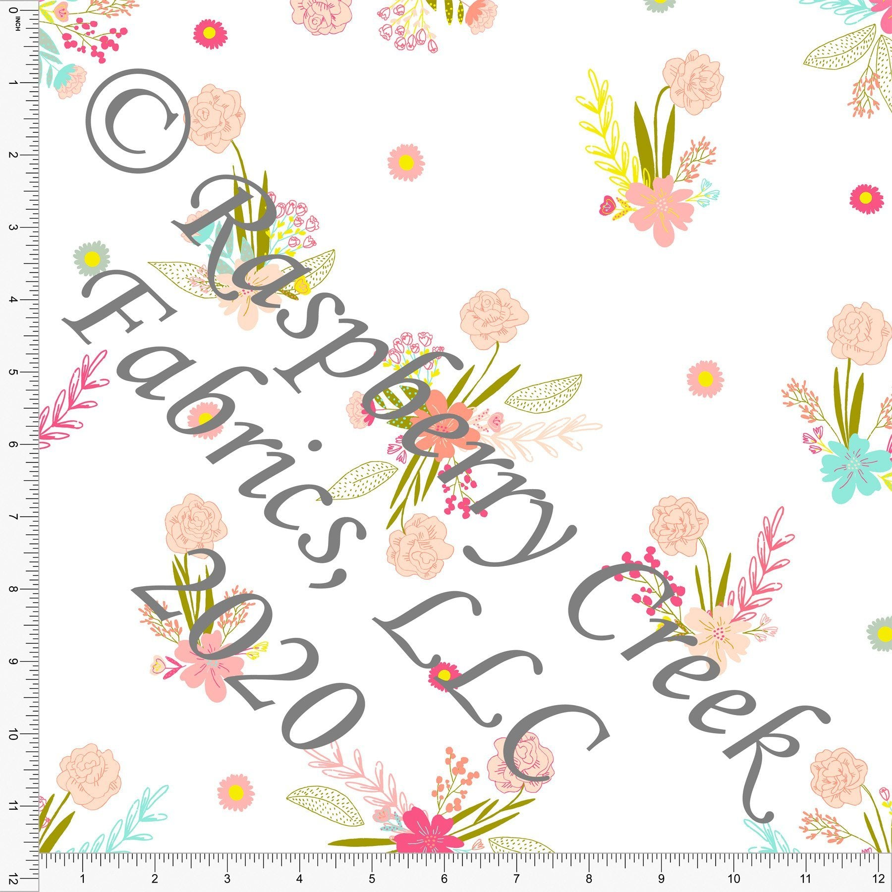 Pink Peach Salmon Mint Fuchsia and Pea Green Double Daffodil Floral, Double Daffodil by Kimberly Henrie for Club Fabrics - Raspberry Creek Fabrics Knit Fabric