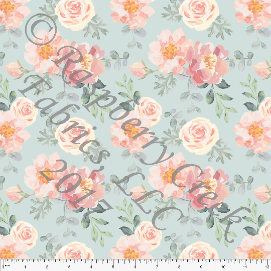 Aqua Peach Blush and Cream Floral in Rayon Challis, CLUB Fabrics, 1 Yard - Raspberry Creek Fabrics