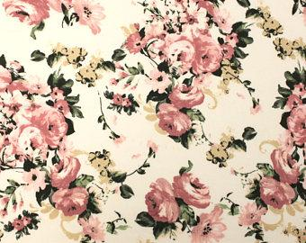 Cream Dusty Pink and Yellow Floral Double Brushed Poly Spandex Knit, 1 yard - Raspberry Creek Fabrics