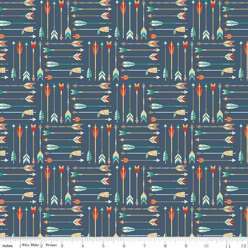 Blue Rust Orange Teal and Cream Adventure Arrow Jersey Knit Fabric by Riley Blake Designs, 1 Yard in Blue - Raspberry Creek Fabrics