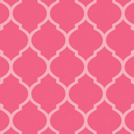 Two Tone Pink Quatrefoil Geometric Diamond Flannel, 1 Yard