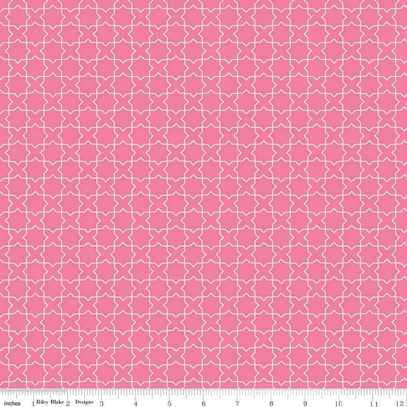Two Tone Pink Geometric Labryinth Cotton Fabric, Wonderland by Melissa Mortensen For Riley Blake, 1 Yard