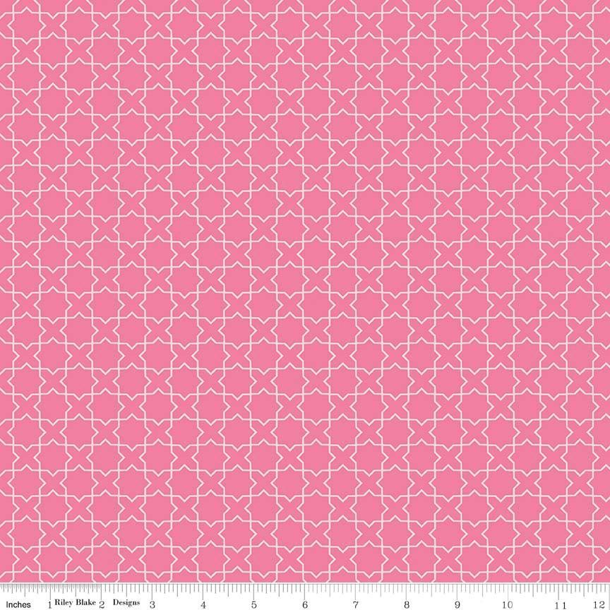 Two Tone Pink Geometric Labryinth Cotton Fabric, Wonderland by Melissa Mortensen For Riley Blake, 1 Yard - Raspberry Creek Fabrics
