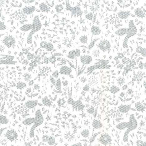 Grey and White Bunny Floral Shadow Garden Double Gauze by Sarah Jane For Michael Miller, 1 Yard - Raspberry Creek Fabrics