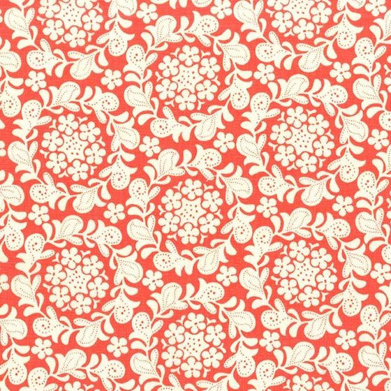 Coral and Cream Floral Cotton Fabric, Strawberry Moon by Sandi Henderson for Michael Miller, Petit Henna Garden, 1 Yard