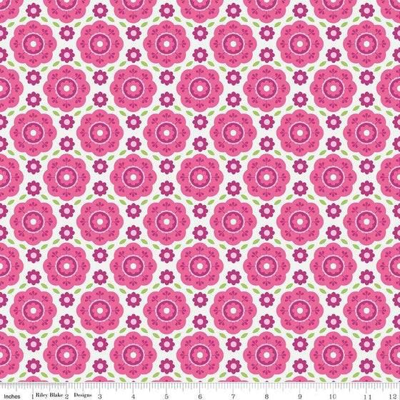 Two Tone Pink and Green Floral Flannel, Summer Song 2 By Zoe Pearn for Riley Blake, Floral Print in Pink, 1 Yard