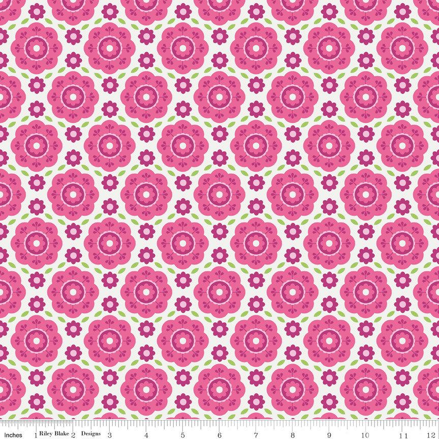Two Tone Pink and Green Floral Flannel, Summer Song 2 By Zoe Pearn for Riley Blake, Floral Print in Pink, 1 Yard - Raspberry Creek Fabrics