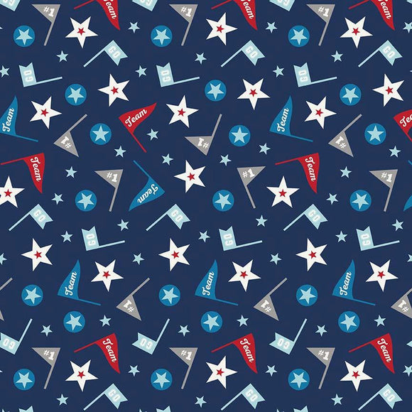 Navy Blue Red and Grey Star and Pennant Flannel, 1 Yard