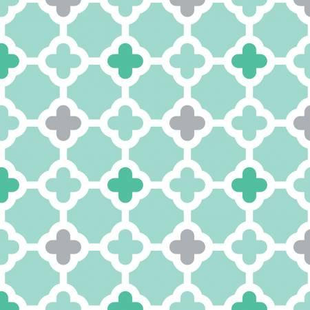 Aqua Green and Grey Geometric Quatrefoil Diamond Flannel, 1 Yard - Raspberry Creek Fabrics