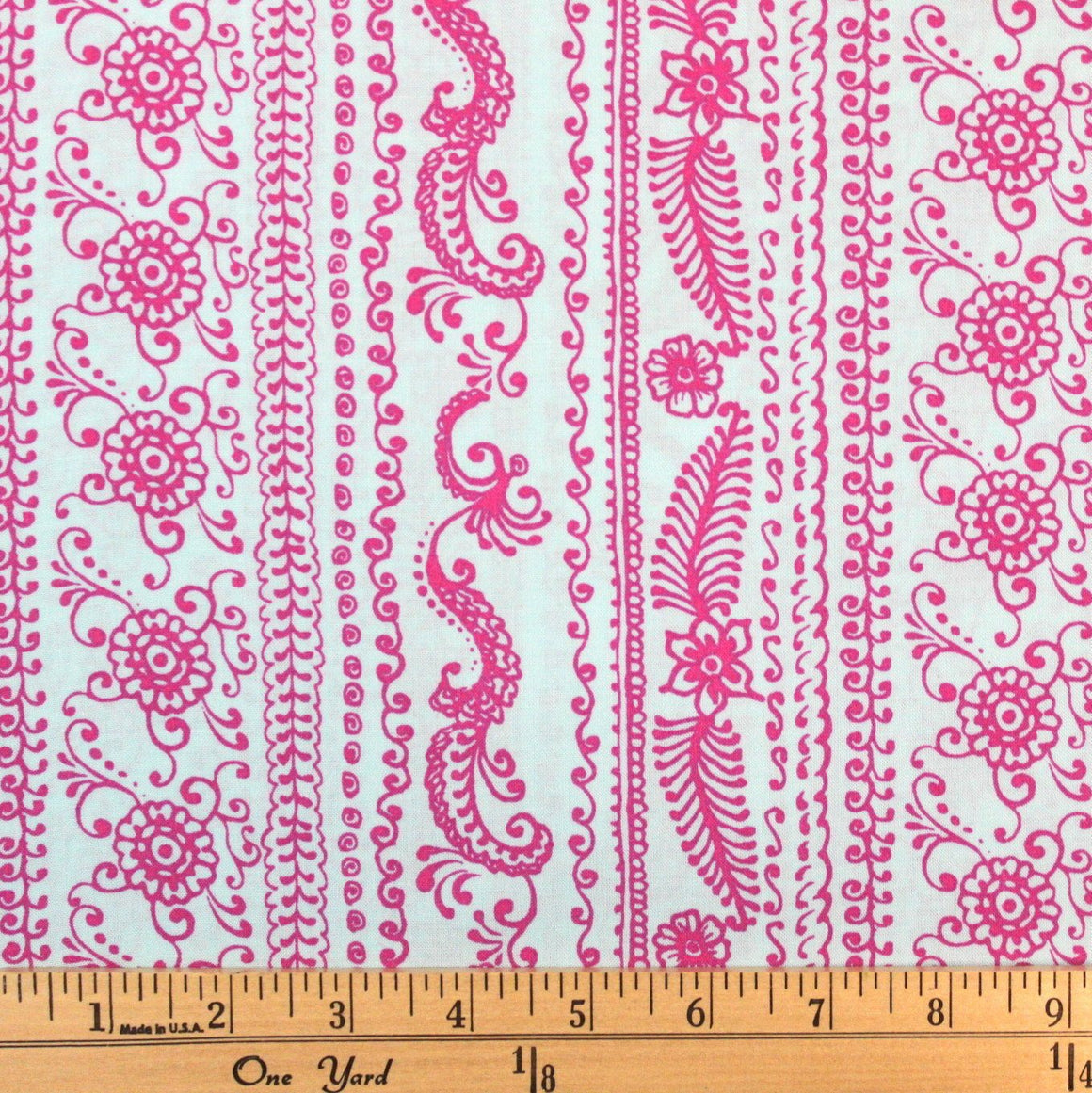 Light Blue and Fuchsia Pink Vertical Fleur Stripe Rayon Challis, 1 yard - Raspberry Creek Fabrics