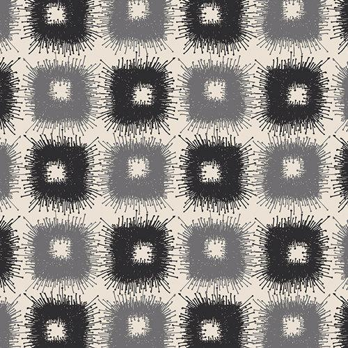 Black Grey and Cream Geometric Square Voile, CLETA by the Art Gallery Designers, Canopy Shadows, 1 Yard Voile