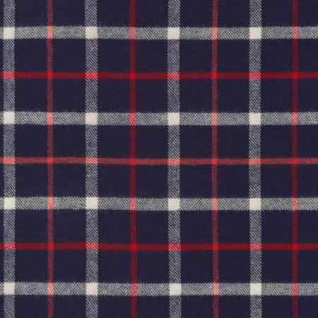 Navy Red and White Plaid Tahoe Flannel by Robert Kaufman, 1 yard - Raspberry Creek Fabrics