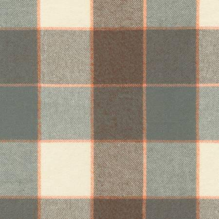 Grey Brown Orange and Cream Plaid Tahoe Flannel by Robert Kaufman - Raspberry Creek Fabrics