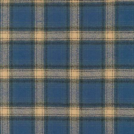 Blue Black and Tan Pacific Robert Kaufman Mammoth Plaid Flannel, 1 Yard - Raspberry Creek Fabrics