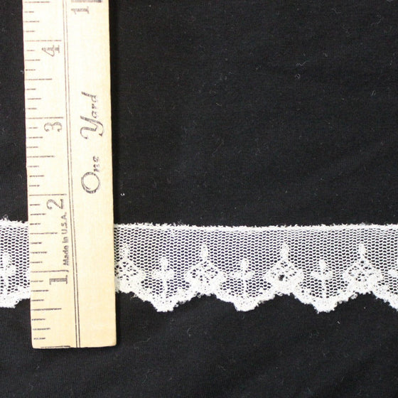 Small White Embroidered Mesh Fabric Lace Trim, 1 yard - Raspberry Creek Fabrics