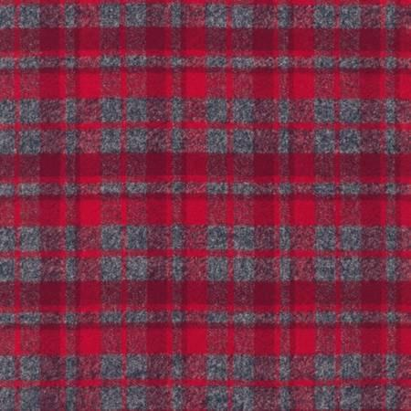 Red and Grey Robert Kaufman Mammoth Plaid Flannel, 1 Yard - Raspberry Creek Fabrics